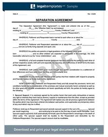 free separation agreement template separation agreement print for free