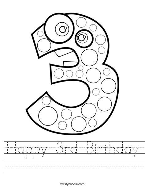 Happy Numbers Worksheet by Happy 3rd Birthday Worksheet Twisty Noodle