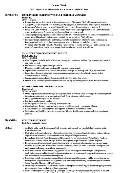Fixed Income Portfolio Manager Sle Resume by Fixed Income Portfolio Manager Sle Resume Retail Resume Sle