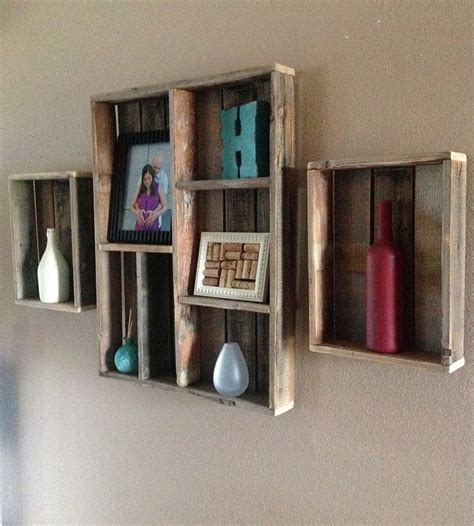 reclaimed wood wall shelf  shadow box set   home