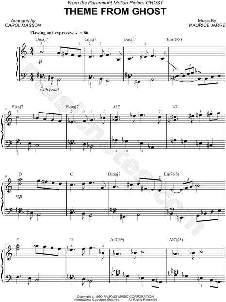 theme song ghost quot theme from ghost quot from ghost sheet music piano solo