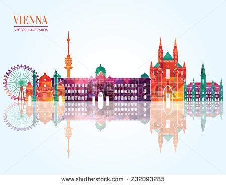 watercolor tattoo vienna vienna skyline vector illustration travel