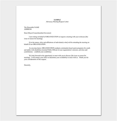meeting appointment letter samples formats
