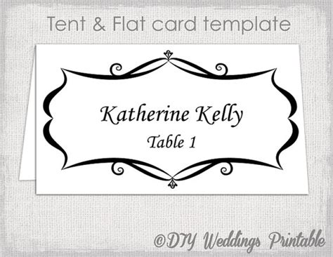 place card template tent  flat  card templates