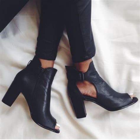 shoes black boots chunky heels cut out peep toe boots