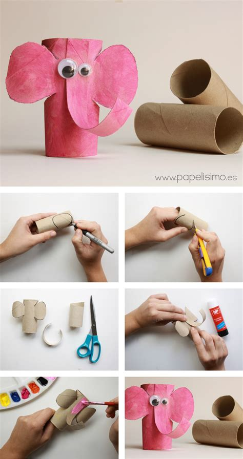 Paper Rolls Crafts - diy animal craft ideas with toilet paper rolls elephant