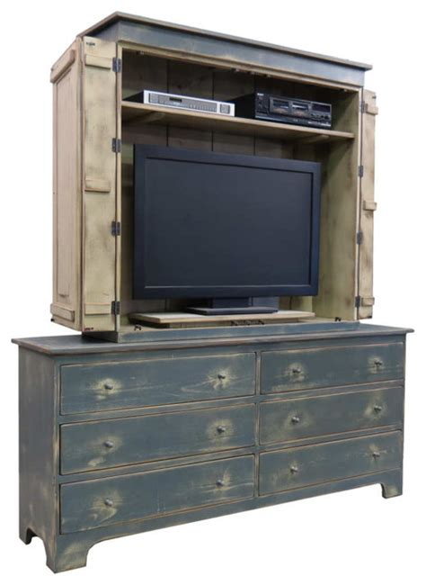 Gray Bedroom Armoire Blue Grey 48 Quot Fairfield Tv Cabinet With 72 Quot Dresser