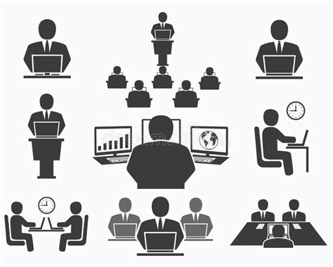 ufficio lavoro como gente di affari icone dell ufficio conferenza lavoro