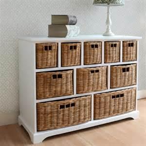large white storage unit wicker drawers hallway kitchen