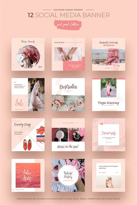 Pink Peach Social Media Designs Social Media 66292 Social Media Design Templates