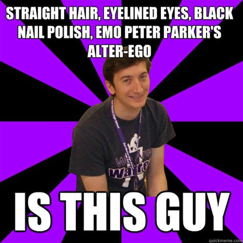 Emo Hair Meme - straight hair eyelined eyes black nail polish emo peter