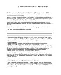 copyright contract template free sle assignment agreement template 9 free documents
