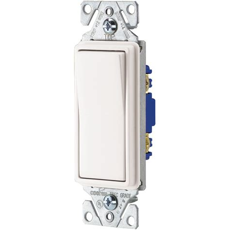 single pole light switch shop eaton 15 amp single pole white rocker indoor light