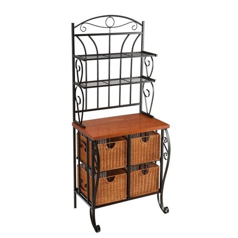 Iron Bakers Rack With Wicker Storage by Sei Iron Wicker Baker S Rack Standing Baker