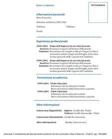 Curriculum Vitae Europass by Curriculum Vitae Modello 01 Modello Curriculum