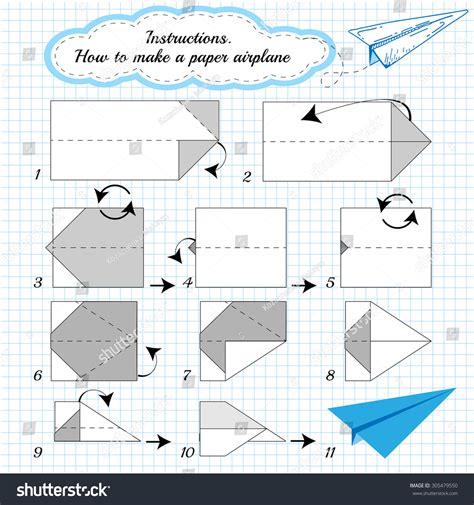 Show Me How To Make A Paper Airplane - paper tutorial step by step how stock illustration