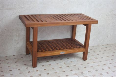 bathroom benches solid teak grate pattern rigid shower seat