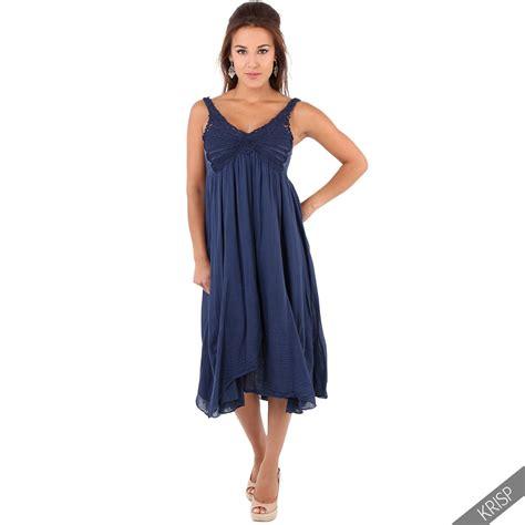 Strappy Midi A Line Dress womens boho hippie a line strappy soft cotton hanky