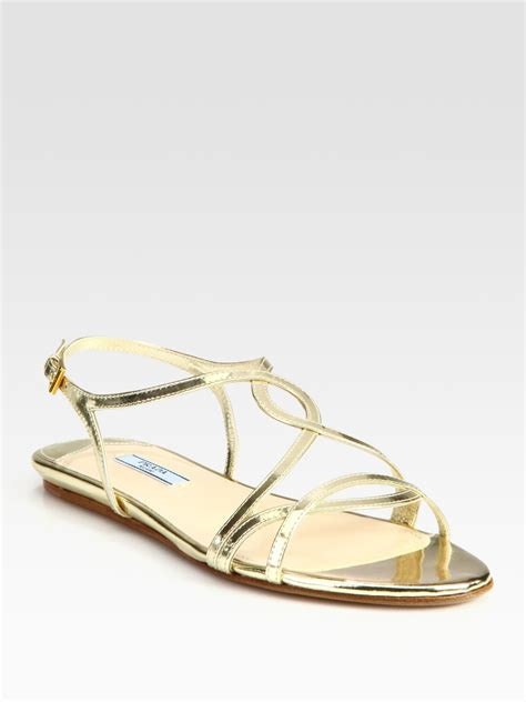 gold sandals for prada metallic leather flat sandals in gold lyst