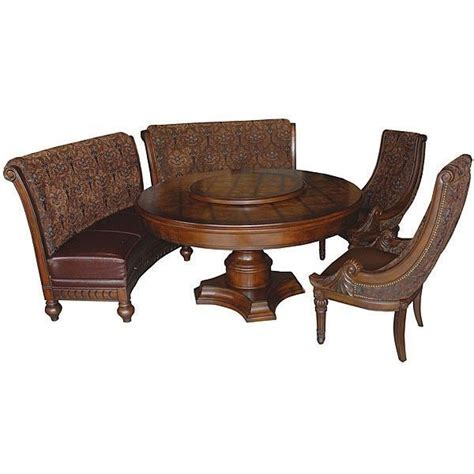 round table and bench dining set round table benches chairs lazy susan mahogany