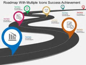road map powerpoint template free roadmap with icons success achievement flat
