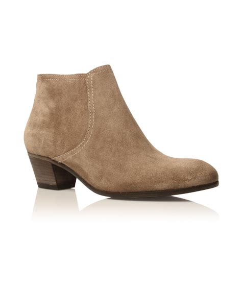 kurt geiger grey sevilla suede ankle boots in beige grey
