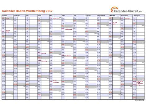 Kalender 2017 Zum Ausdrucken Feiertage 2017 Baden W 252 Rttemberg Kalender