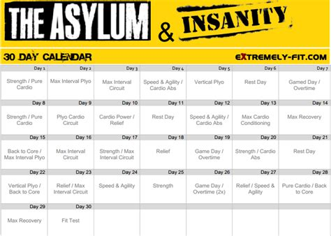 Calendario Insanity Asylum Workout Calendar Search Results Calendar 2015