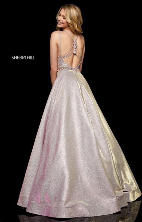 sherri hill  long glitter ballgown  thin straps