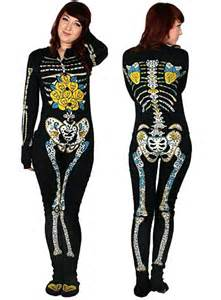 Sugar skeleton footed pajamas by too fast clothing intimates