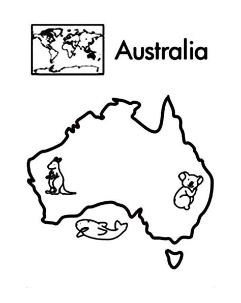 australian map coloring page australia continent in world map coloring page printable