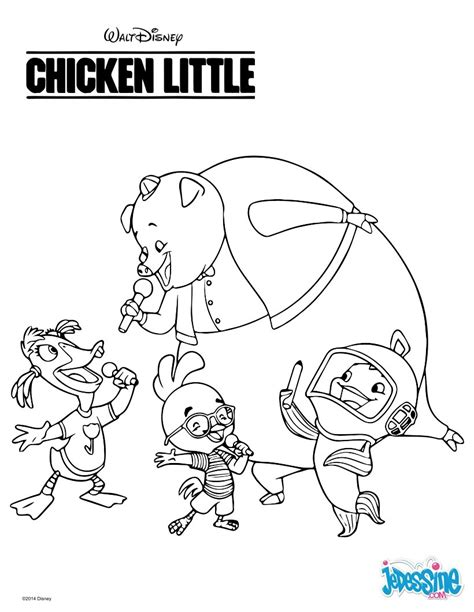 chicken little coloring pages 71 free disney printables for kids coloriages chicken little et ses amis fr hellokids com