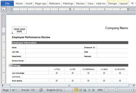 Evaluation Template Word Cominyu Info Cominyu Info Performance Review Template Word