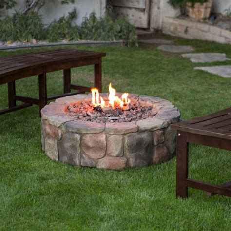 Outdoor Propane Fire Pit Backyard Patio Deck Stone Propane Outdoor Firepits