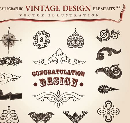 vintage design elements font set of calligraphic vintage borders and label vector 08