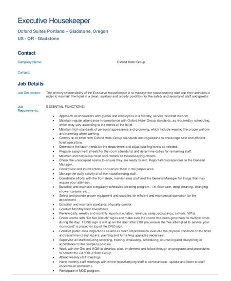 Resume Sle Housekeeping Hotel Executive Housekeeper Description Resume 28 Images