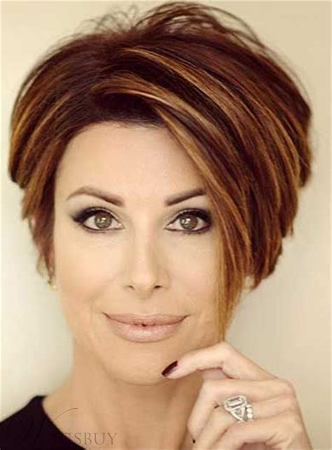 best style wigs for the elderly short straight mixed color lob lace front human hair wigs