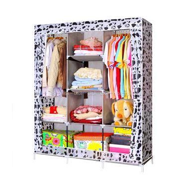 Lemari Rak Pakaian Baju Serbaguna Praktis Mudah Dirawat Termurah Promo jual godric motif dalmatian lemari pakaian portable jumbo size 130 x 45 x 170 cm