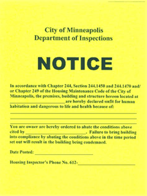 boat safety inspector training common notices placed on buildings by housing inspections