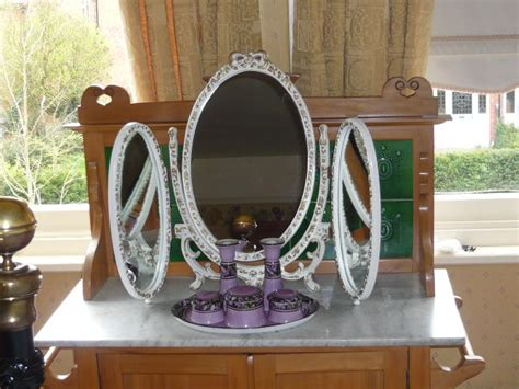 shabby chic triple dressing table mirror