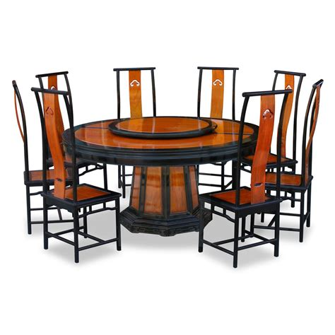 66in Rosewood Ming Design Round Dining Table With 8 Chairs Dining Tables For 8