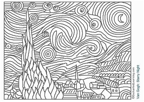 the starry night coloring page coloring home