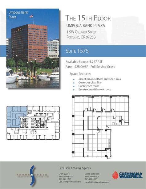 Floor Plan Of An Office Umpqua Bank Plaza 1 Sw Columbia Street 15th Floor Unit