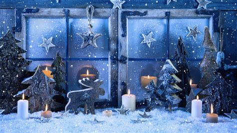 wallpaper christmas decoration snowfall candles  celebrations christmas