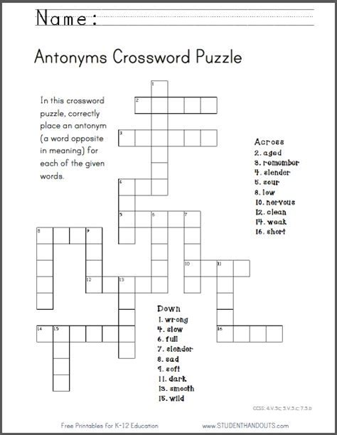 Painting E G Crossword by Antonyms Crossword Puzzle Free To Print Pdf File Ccss