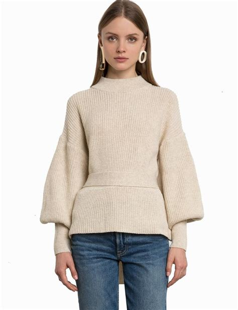 ivory belted balloon sleeve sweater shop who what wear