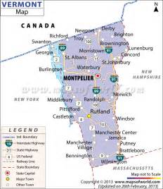 vermont map showing the major travel attractions including