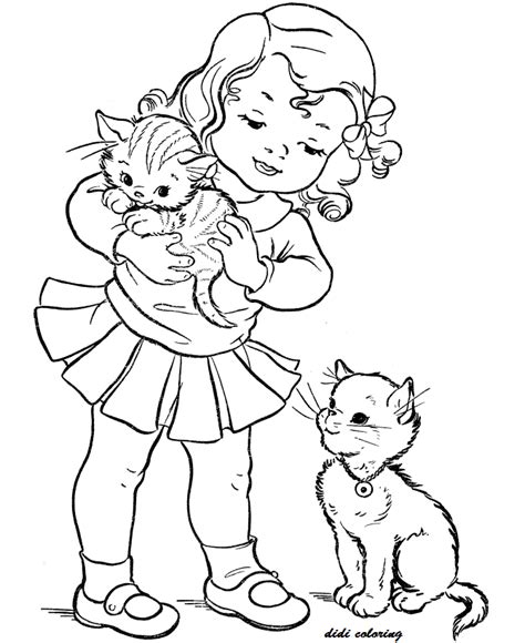 coloring page kittens playing printable girl playing with kittens didi coloring page