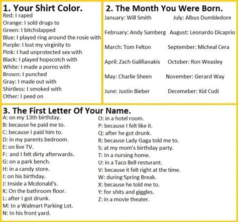 which month you were born your shirt color month you were born and your name pls