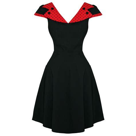 Hell Bunny Evie Dress by Hell Bunny Evie Polka Dot Collar 50s Rockabilly